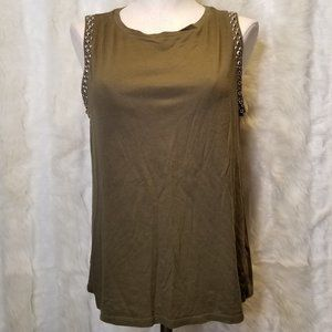 F21 Olive Forest Green Studded Muscle Tee Tank Top
